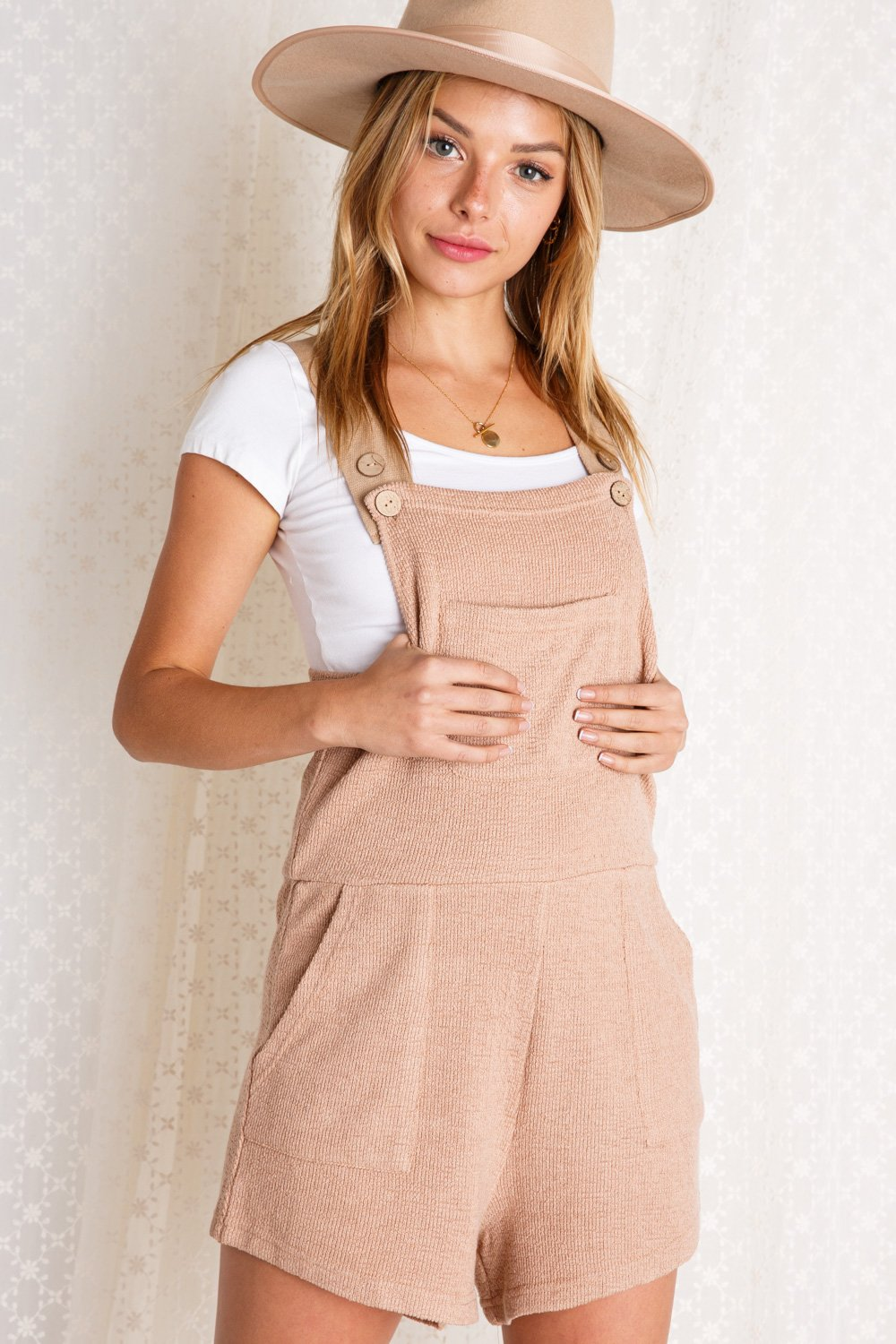 KNIT OVERALL ROMPER WITH BUTTONS