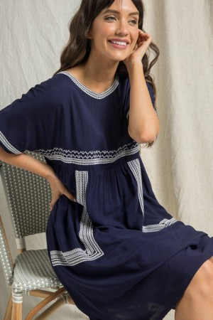MIDI DRESS WITH EMBROIDERED DETAIL