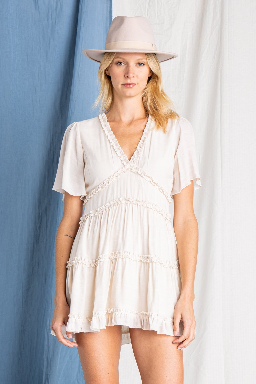 MINI RUFFLE DETAILED DRESS