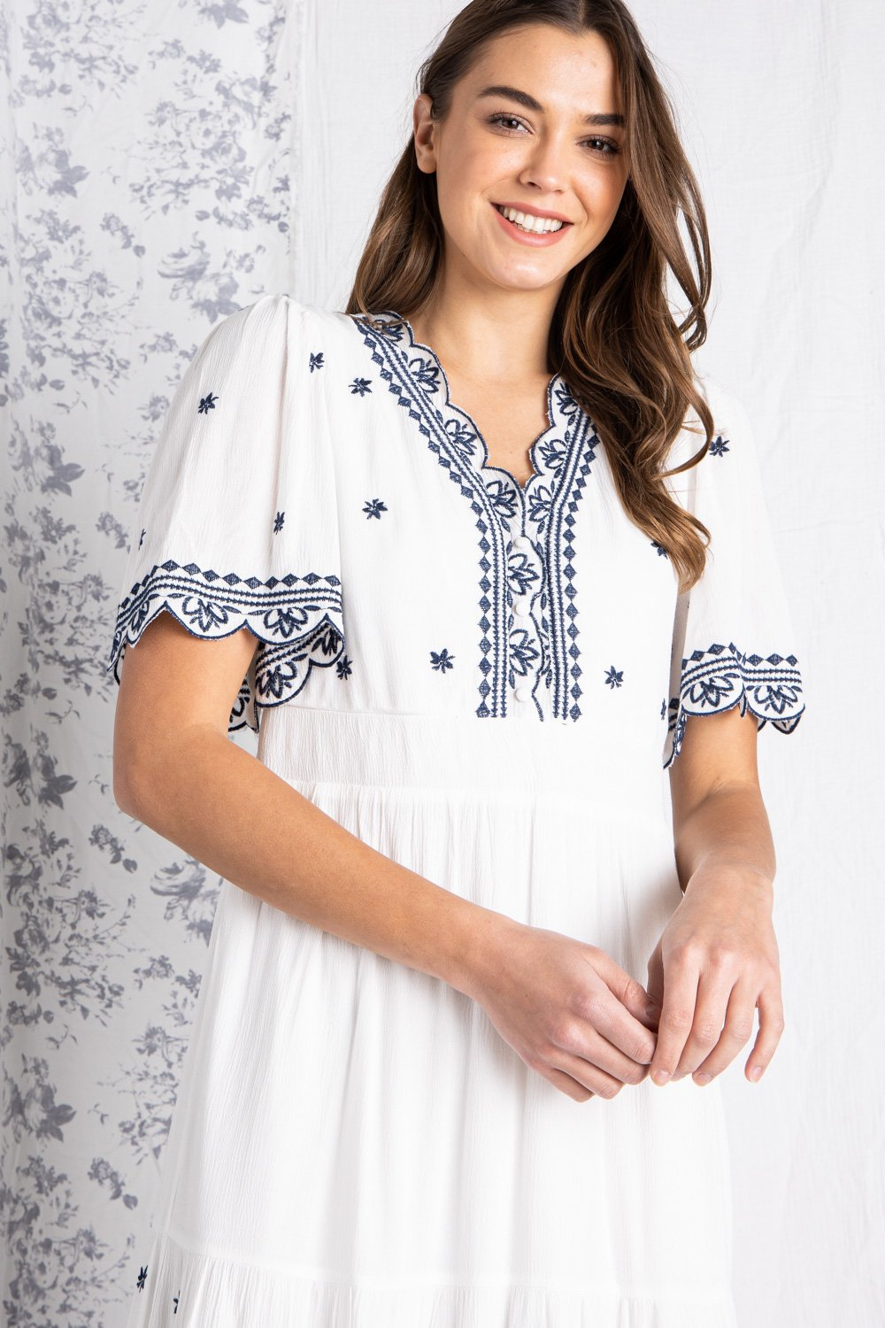 EMBROIDERED TIERED MIDI DRESS