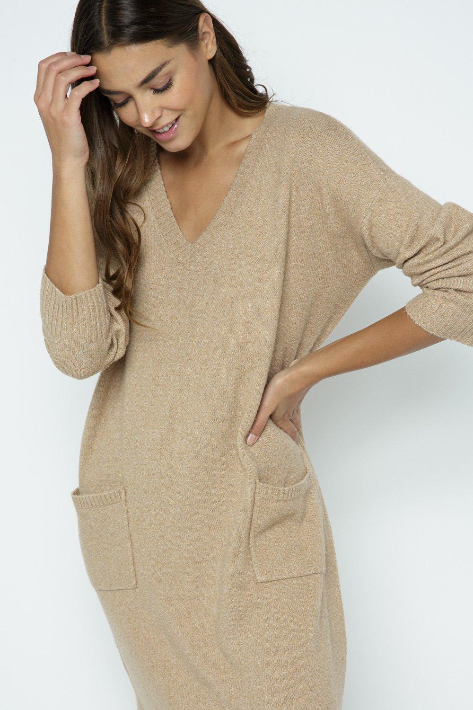 V-NECK POCKET SWEATER DRESS