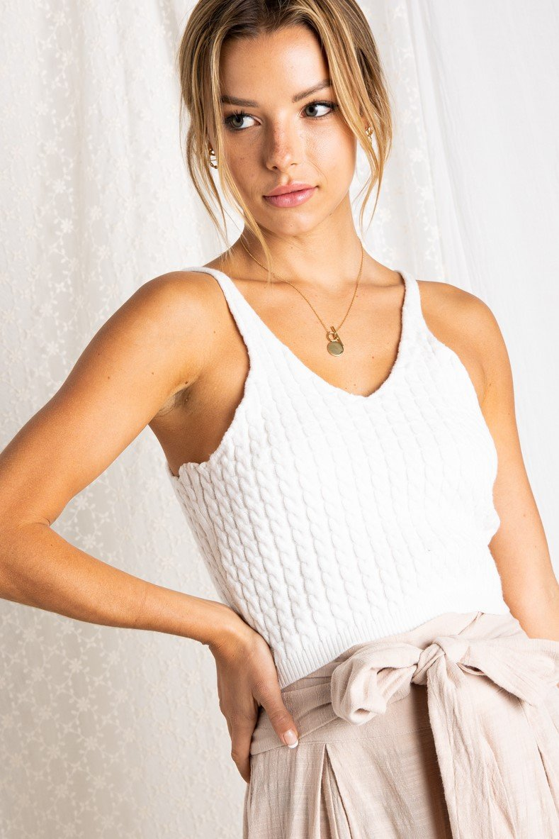 CABLE KNIT SWEATER CROP TANK TOP