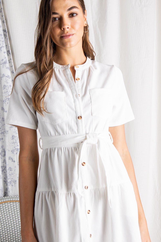 CORDUROY TIERED SHIRT DRESS