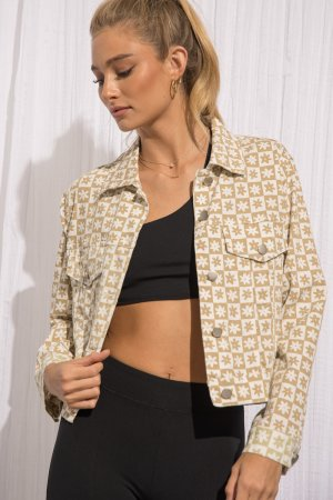CHECKERED AND FLORAL PRINT BUTTON UP JACKET