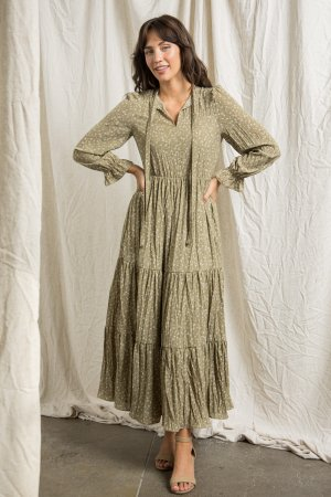 MAXI DRESS WITH MOCK NECK SELF TIE DETAIL
