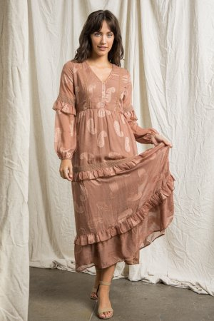 TIERED MAXI DRESS WITH PINTUCK DETAIL